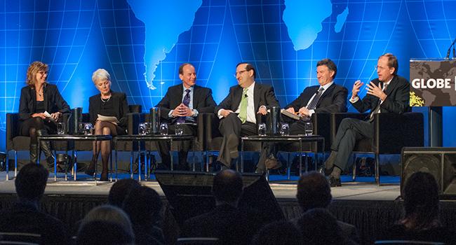 From left to right: Merran Smith, Clean Energy Canada; Marie-José Nadeau, World Energy Council & Hydro Québec;  Ken Lueers, ConocoPhillips Canada; Jacques Besnainou, General Fusion; Al Monaco, Enbridge; and Jules Kortenhorst, Rocky Mountain Institute.