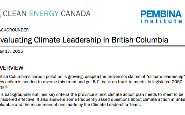 Backgrounder: Evaluating Climate Leadership in British Columbia