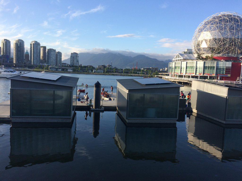 Solar panels installed at the False Creek Paddling Centre as part of the Solar Now project in Vancouver.