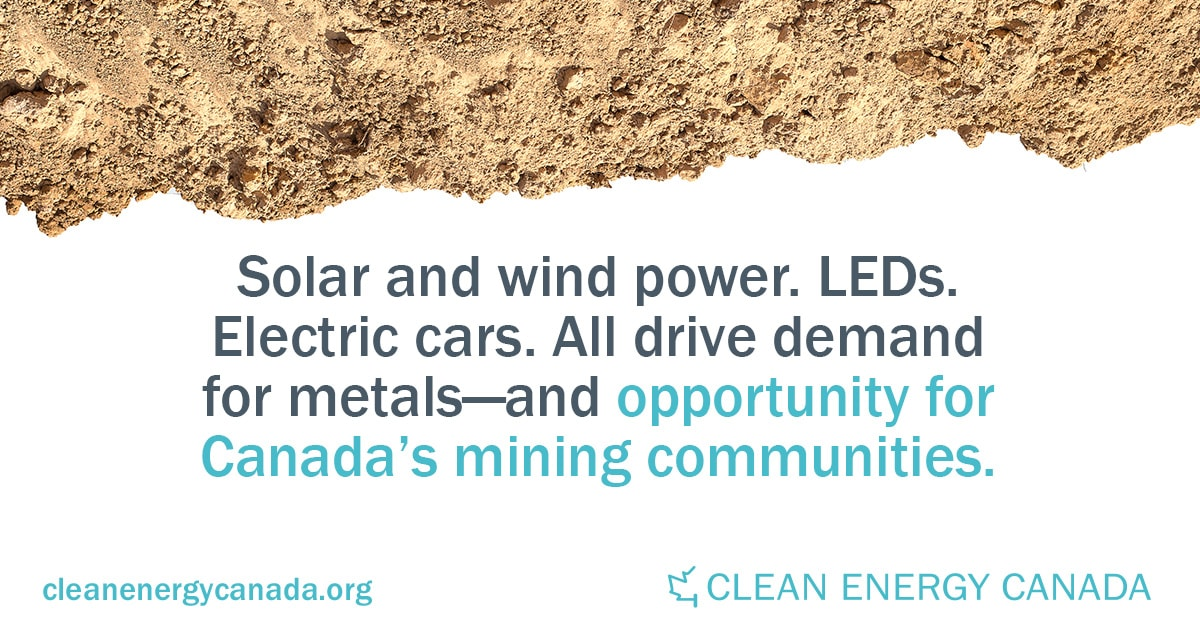 Clean energy technologies drive demand for metals and minerals that Canada's mining sector can supply.