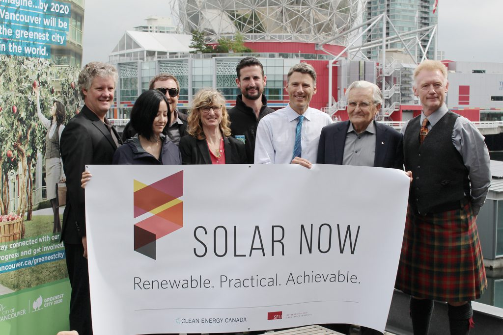 Solar Now project partners celebrate the launch of the Creekside installation.