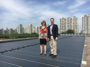 Merran Smith and Dan Woynillowicz at a solar panel manufacturing facility in China. Clean Energy Canada, 2017.